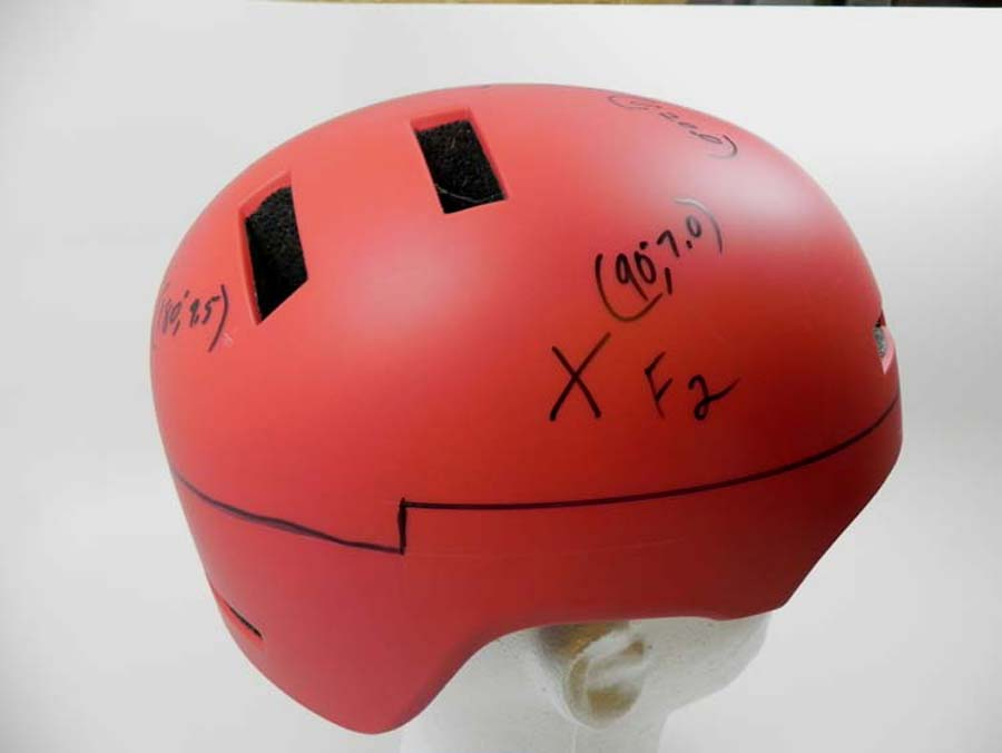 Helmet marked for testing.