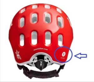 Recalled Woom helmet showing size location